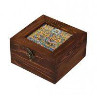 جعبه چوبی 15*15 طرح طاووس