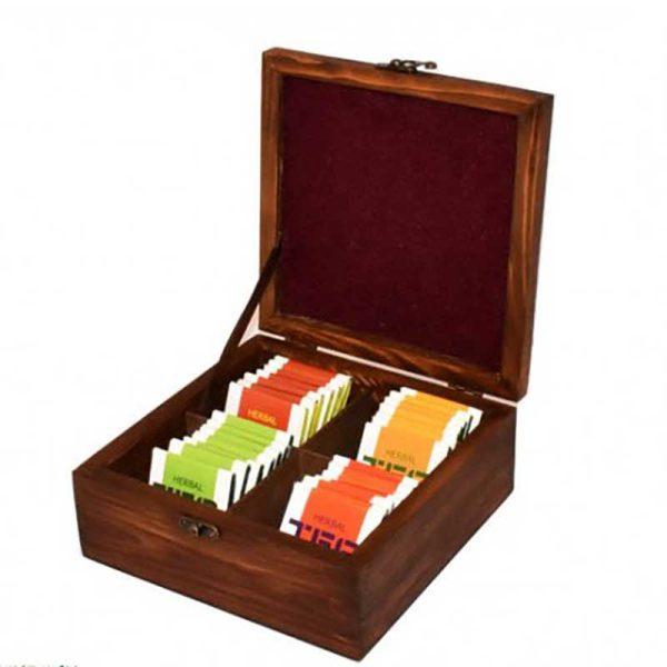 جعبه چوبی پذیرایی مستطیلی قهوه ای