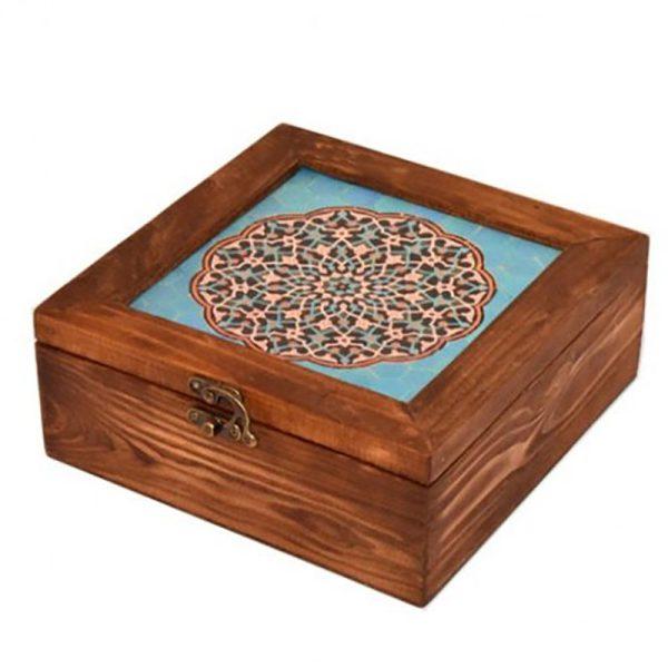 جعبه تی بگ چوبی 20*20 طرح برکه