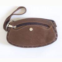 کیف لوازم آرایش چرمی زیپدار