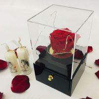 موزیک باکس کشویی همراه با رز جاودان قرمز
