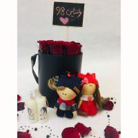 پک کادویی باکس گل و عروسک